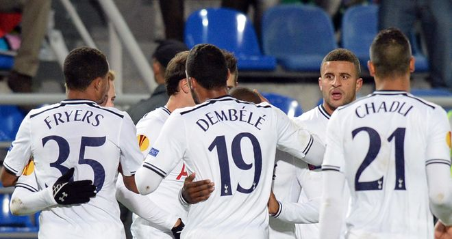 Tottenham celebrate their opening goal on the way to a 2-0 win over Anzhi Makhachkala