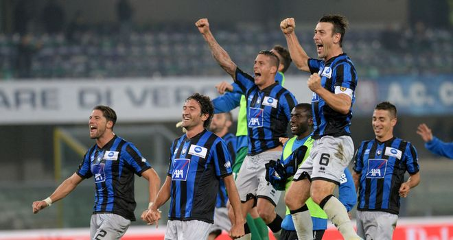 Atalanta celebrate their victory at Chievo
