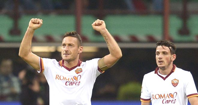 Francesco Totti celebrates for Roma