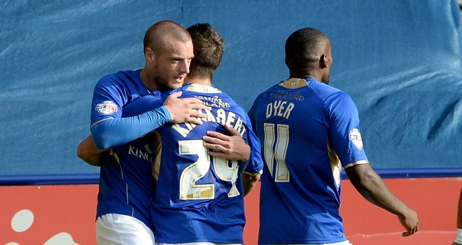 Jamie Vardy (left): Hit the winner for Leicester
