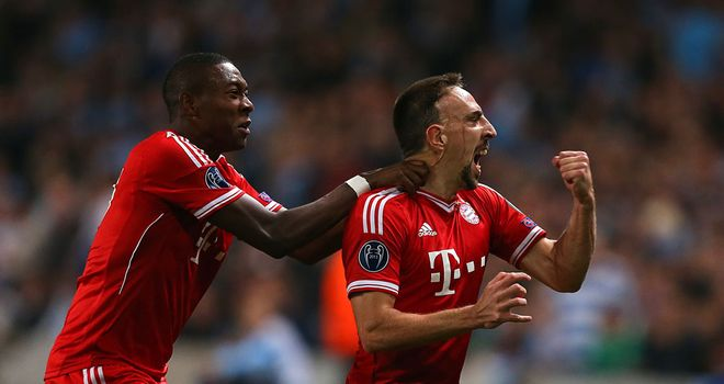 Franck Ribery: Celebrates his early opener with David Alaba