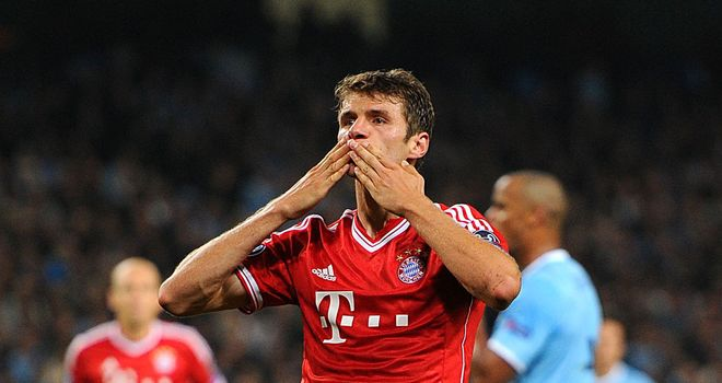 Thomas Muller celebrates as Bayern Munich produced a convincing display