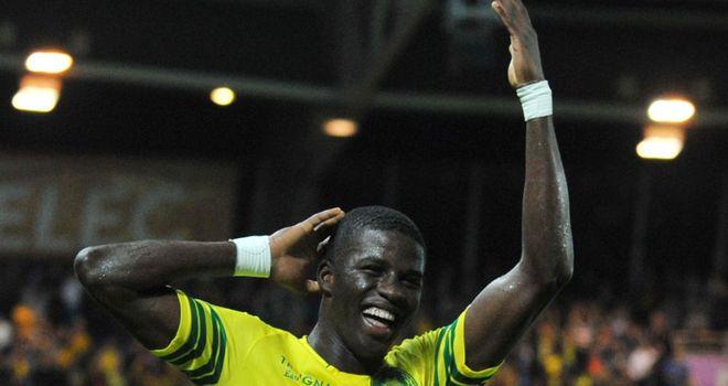 Serge Gakpe celebrates his goal for Nantes