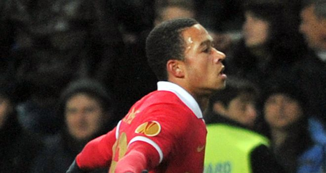 Memphis Depay: Celebrates his goal for PSV
