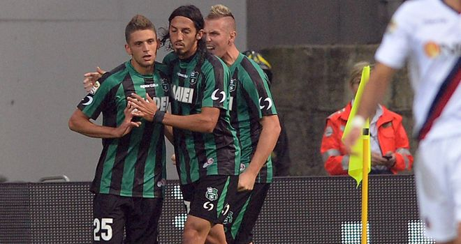 Domenico Berardi celebrates after netting from the spot