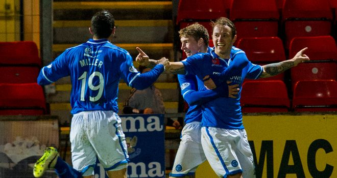 Stevie May: St Johnstone striker celebrates the opening goal in Perth