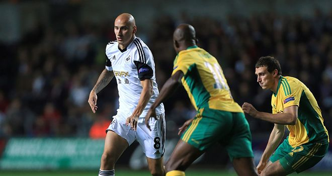 Jonjo Shelvey: In action for Swansea against Kuban Krasnodar