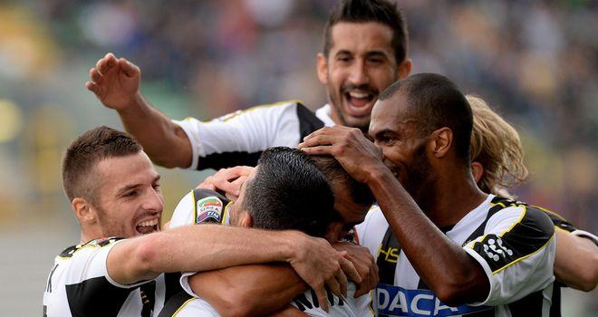Udinese celebrate against Cagliari
