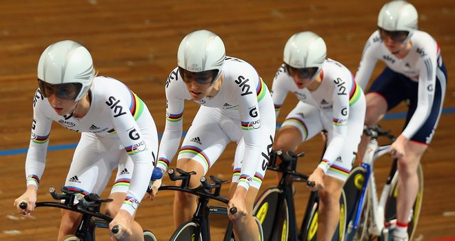 The women's team pursuit squad will look to add to their European title on home boards