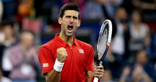 Novak Djokovic celebrates his win over Gael Monfils