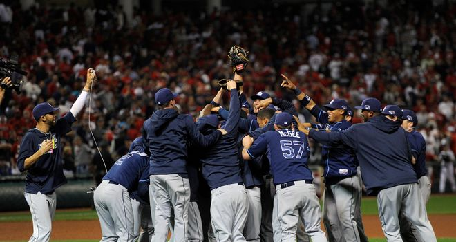 The Tampa Bay Rays celebrate after beating the Cleveland Indians