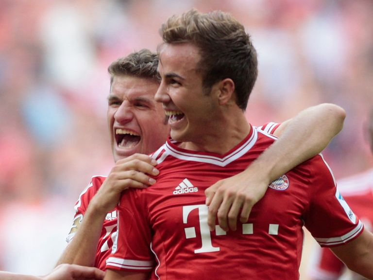 Mario Gotze celebrates after his first league goal for Bayern