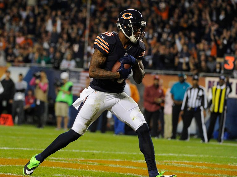 Brandon Marshall receives a touchdown pass