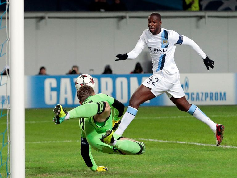 Yaya Toure in action in Moscow on Tueday
