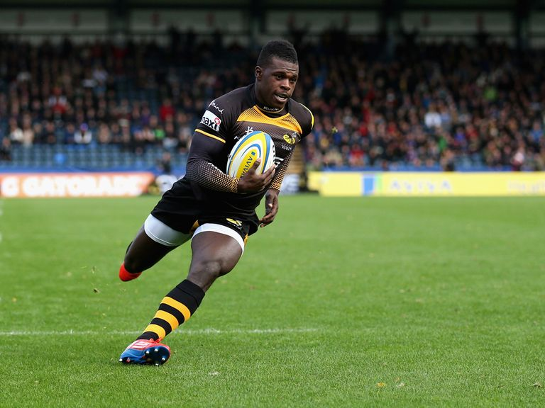 Christian Wade crosses over for a Wasps try
