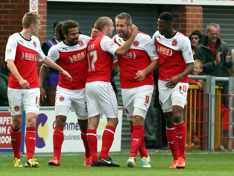 Fleetwood's Jon Parkin celebrates a late equaliser