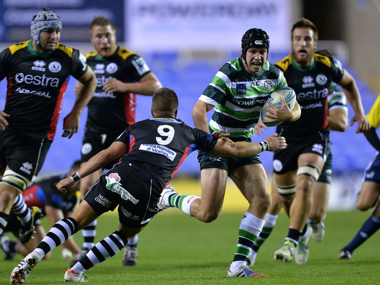 London Irish's Myles Dorrian gets through a tackle on Friday night.