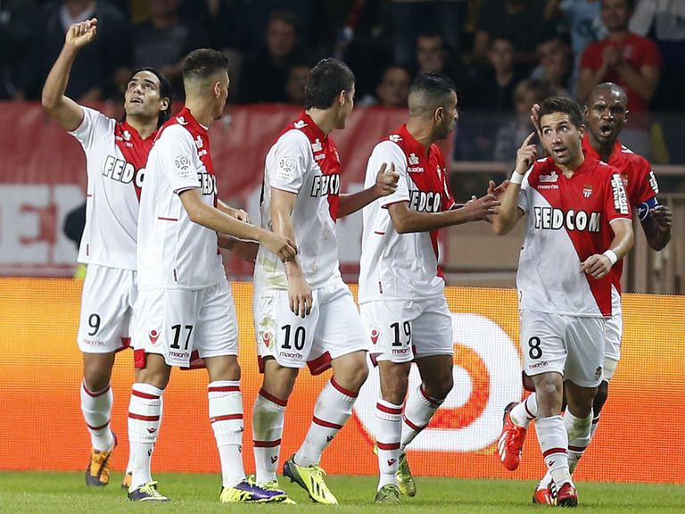 Falcao celebrates with Monaco teammates