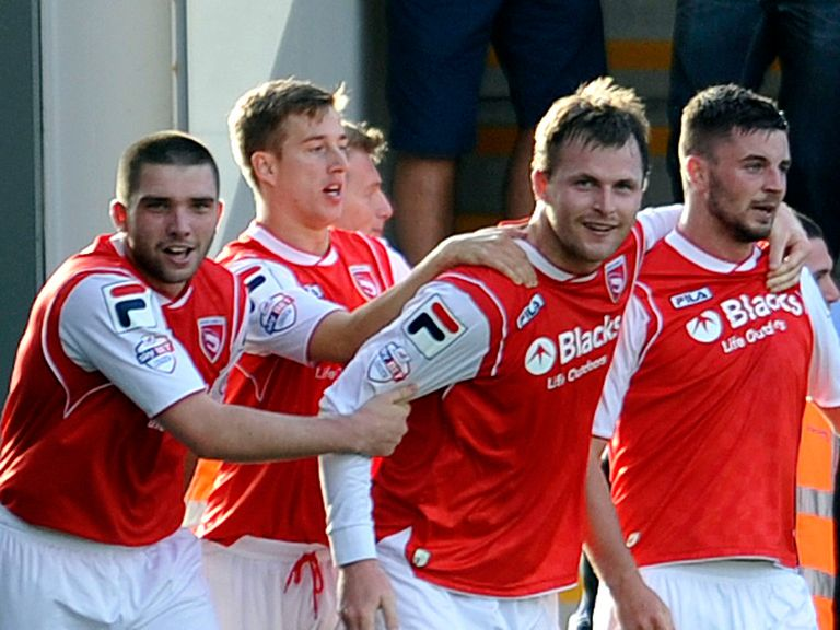 Morecambe celebrate against Chesterfield