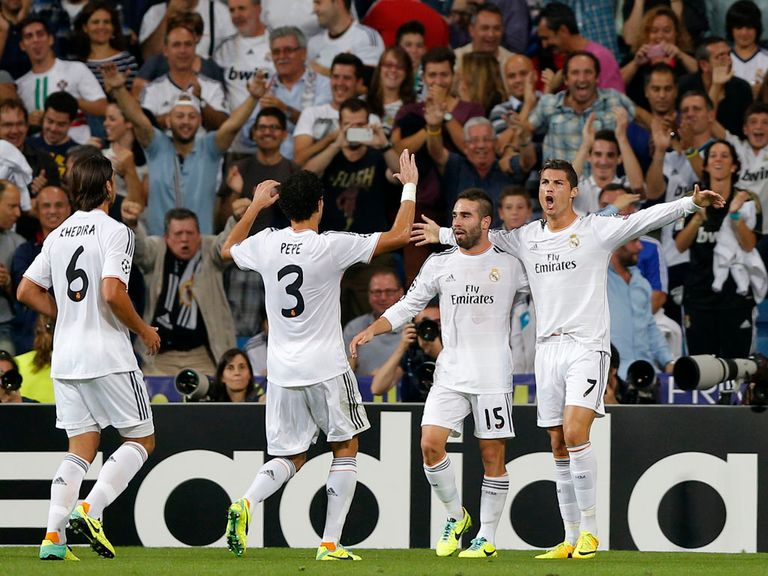 Real Madrid celebrate against Copenhagen