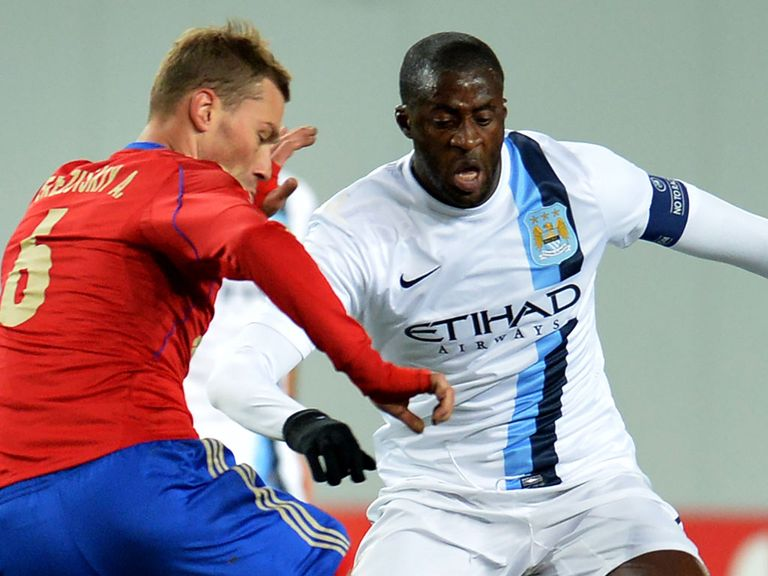 Action from CSKA Moscow against Manchester City