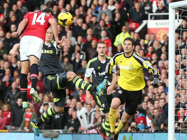 Javier Hernandez scores Manchester United's winner against Stoke.