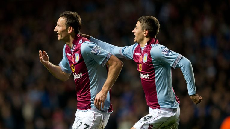 Libor Kozak: Celebrating his first goal at Villa Park