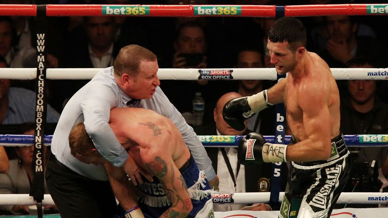 George Groves (L): Appeared to be heading for victory before stoppage