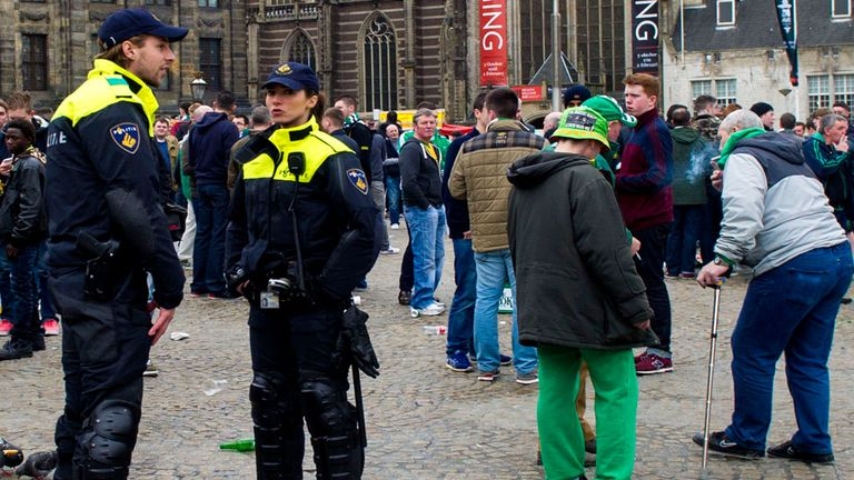 Dutch Police in close attendance in Amsterdam