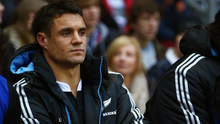 Dan Carter sits on the bench at Twickenham after Achilles injury
