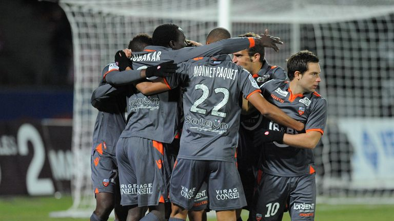 Lorient celebrate against Evian