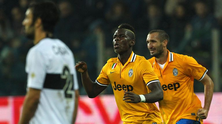 Paul Pogba: Celebrates his winning goal for Juventus