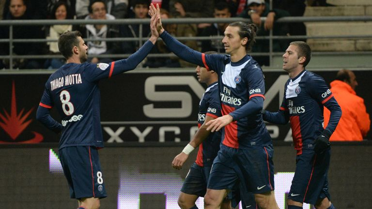 Zlatan Ibrahimovic: Celebrates after scoring