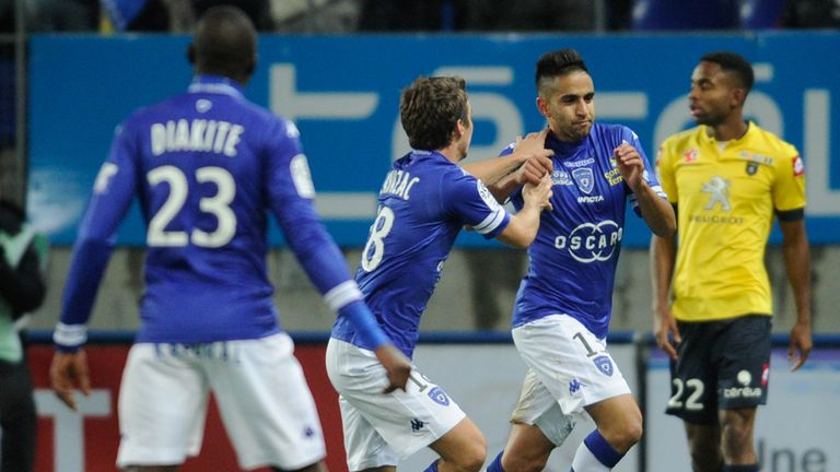 Ryad Boudebouz celebrates his goal for Bastia