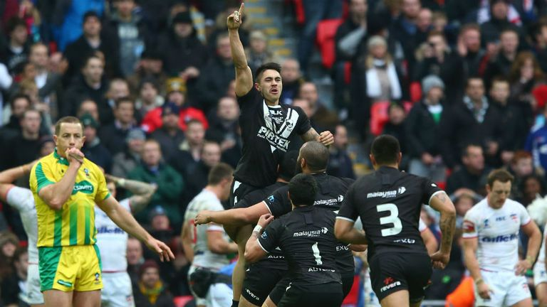 Shaun Johnson celebrates his match-winning conversion