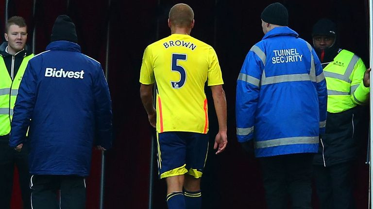 Black Cats' defender Wes Brown heads for the tunnel at Stoke's Britannia Stadium