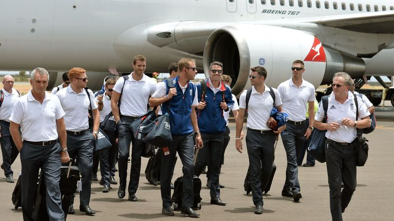 The England players arrive at Alice Springs airport