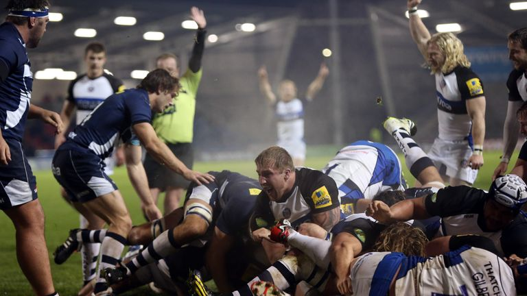Bath Rugby's Anthony Perenise is driven over for a try