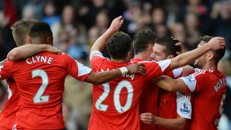 Southampton players flocked to celebrate Morgan Schneiderlin's opener against Hull City
