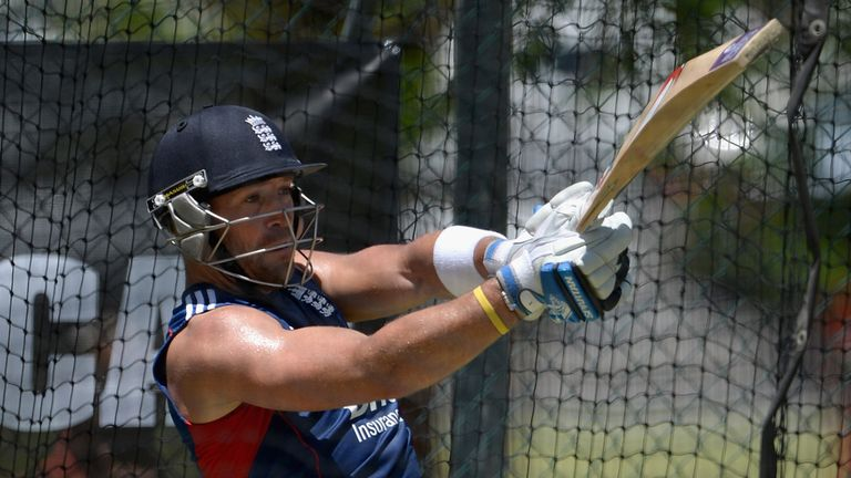 Matt Prior bats in the nets ahead of the first Test in Brisbane