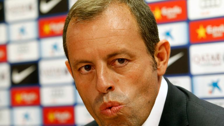 Sandro Rosell: resigned as Barcelona president after Neymar's contract came under the spotlight.