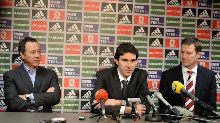 Neil Bausor (right): Middlesbrough chief executive happy to have Aitor Karanka (centre) in place