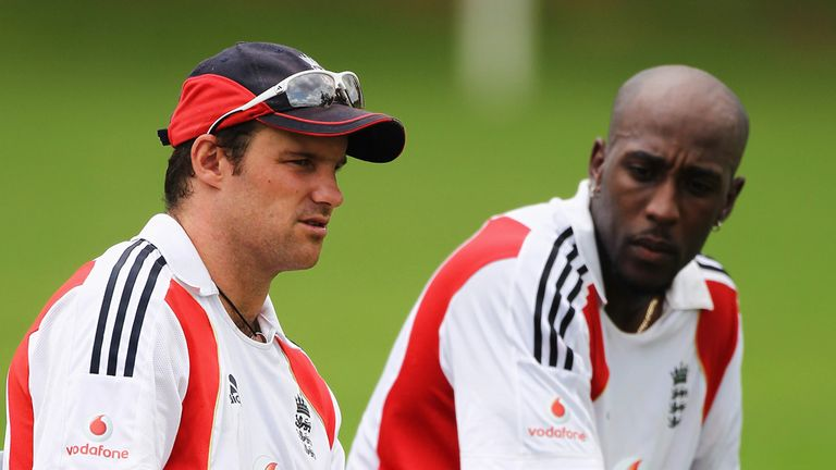 Andrew Strauss chats with Michael Carberry at a net session in 2010