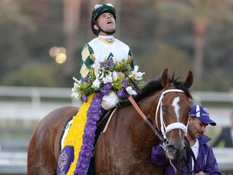 A stunned Gary Stevens reacts to Mucho Macho Man's win in the Classic