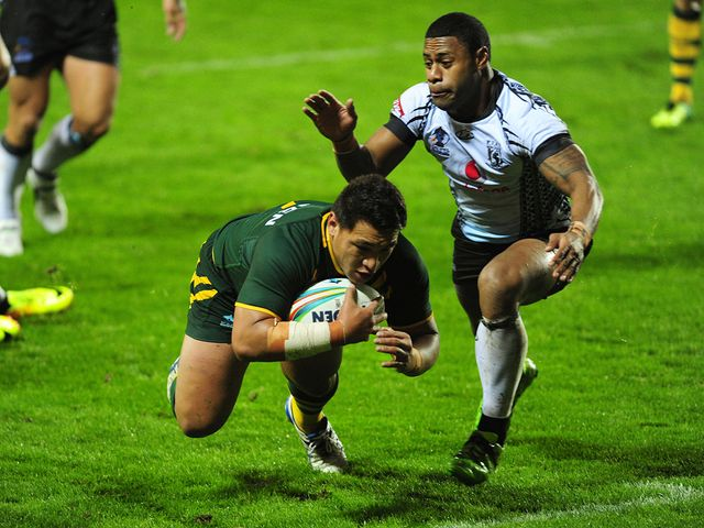 Josh Papalii scores a try for Australia
