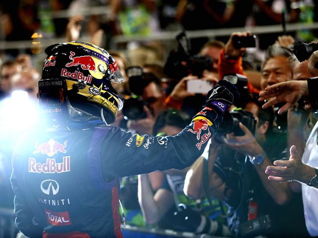 Sebastian Vettel celebrates his win