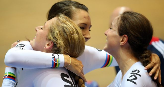 Great Britain's women's team pursuit riders celebrate their victory