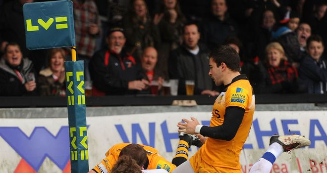 Vital score: Matthew Pewtner of Newport Gwent Dragons scores a try in the home side's win