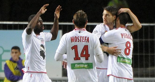 AC Ajaccio celebrate against Toulouse