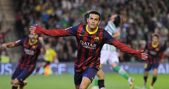 Pedro Rodriguez celebrates for Barcelona